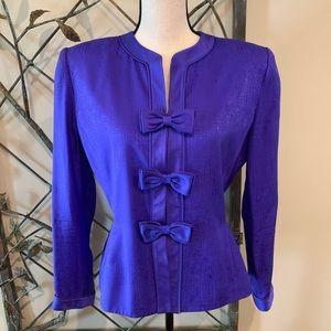 Adrianna Papell silk purple dress blazer sz 10